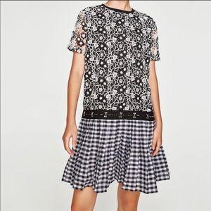 Zara LACE & PLAID PLEATED DRESS